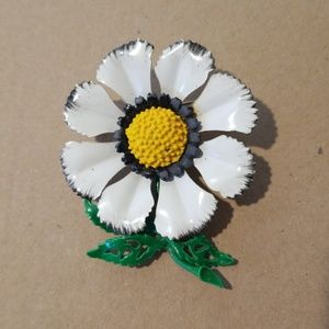 Jewelry - Large Vintage Enamel Flower Brooch